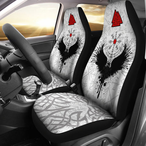 Image of Viking Raven Car Seat Covers Valknut Runes 1  |1stIceland