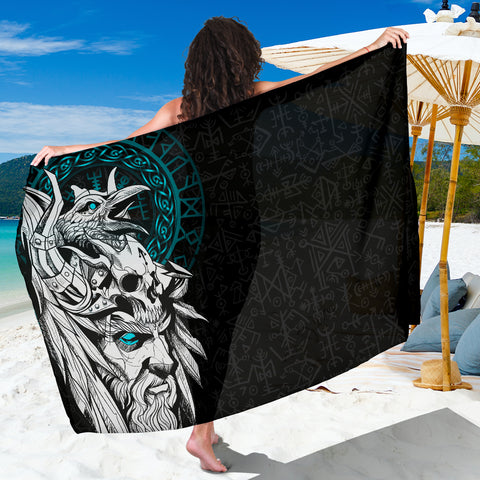 1stIceland Viking Odin And Raven Turquoise Sarong