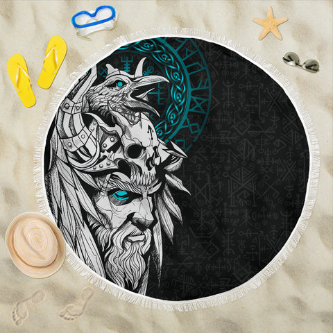 1stIceland Viking Odin And Raven Turquoise Beach Blanket TH12 - 1st Iceland