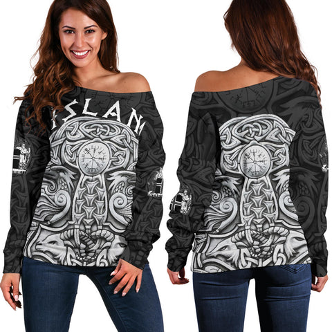Image of 1stIceland Vikings Off Shoulder Sweater, Odin's Raven Mjolnir K4 - 1st Iceland