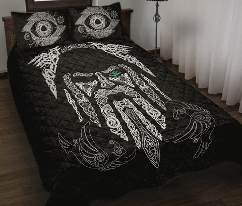 Image of 1stIceland Viking Quilt Bed Set, Odin's Eye with Raven