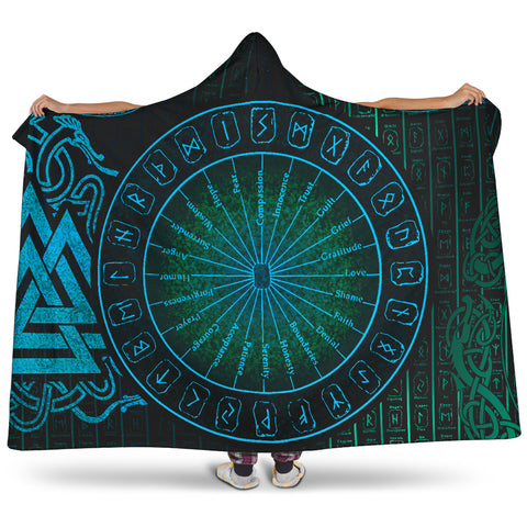 1stIceland Viking Hooded Blanket, Circle Of Healing Valknut Runes K7 - 1st Iceland