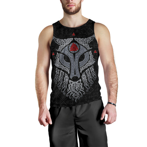 Image of Viking Wolf and Raven Men Tank Top Valknut Runes K13 - 1st Iceland