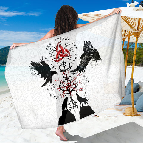 1stIceland Viking Sarong, Vegvisir Hugin and Munin with Fenrir Yggdrasil K4 - 1st Iceland