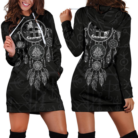 1stIceland Viking Hoodie Dress, Dreamcatcher Iceland Coat Of Arms K4 - 1st Iceland