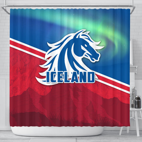 Image of 1stIceland Icelandic Horse Shower Curtain Aurora Mountain K4 - 1st Iceland