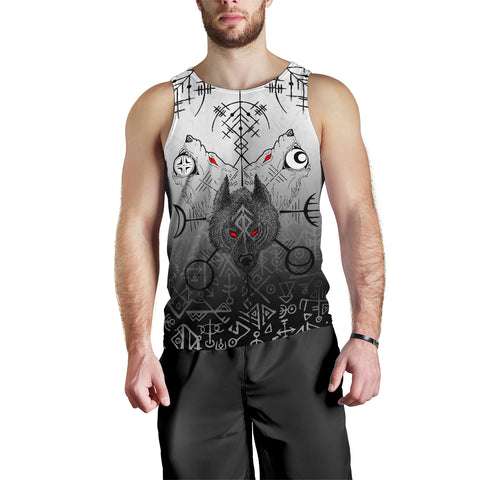 Image of 1stIceland Viking Wolf Men Tank Top Runes Special K13 - 1st Iceland