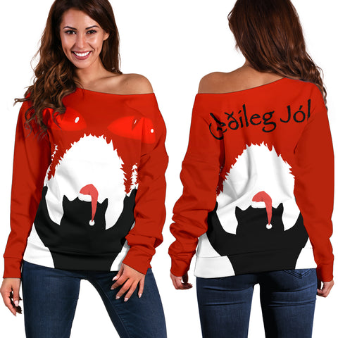 1stIceland Women's Off Shoulder Sweater, Yule Cat 02 - 1st Iceland