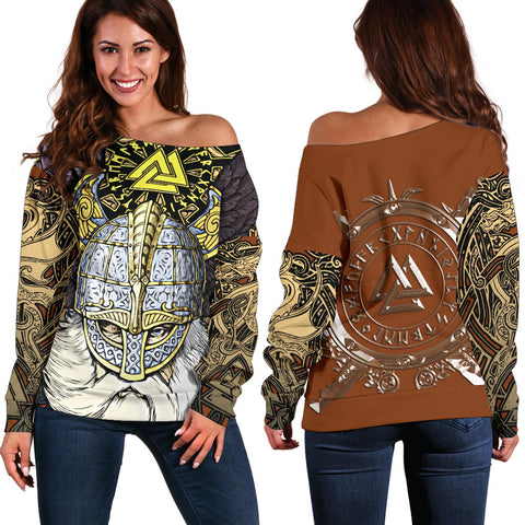 1stIceland Viking Off Shoulder Sweater, Odin Norse Mythology Runes Valknut Th00 - 1st Iceland