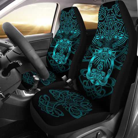 Image of 1stIceland Viking Mjolnir Car Seat Covers Celtic Raven Version Turquoise K13 - 1st Iceland
