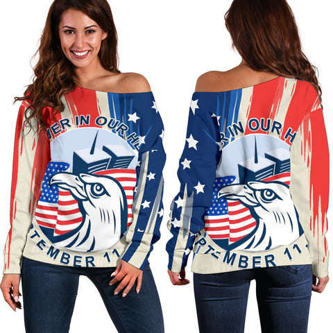 1stIceland American Firefighters Sacrifice 9.11.01 Women Off Shoulder Sweater K8 - 1st Iceland