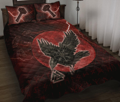 1stIceland Viking Quilt Bed Set, Raven Helm Of Awe Valknut Mjolnir Rune TH70 - 1st Iceland