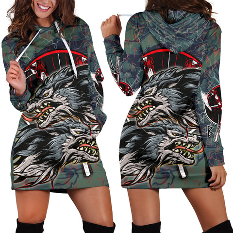 Image of 1stIceland The Viking Runes Women Hoodie Dress Grey Wolf K13 - 1st Iceland