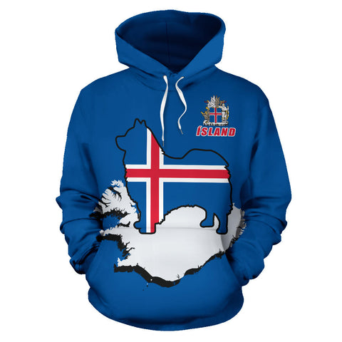 1stIceland Pullover Hoodie, Icelandic Sheepdog Flag Map Coat Of Arms K4 - 1st Iceland