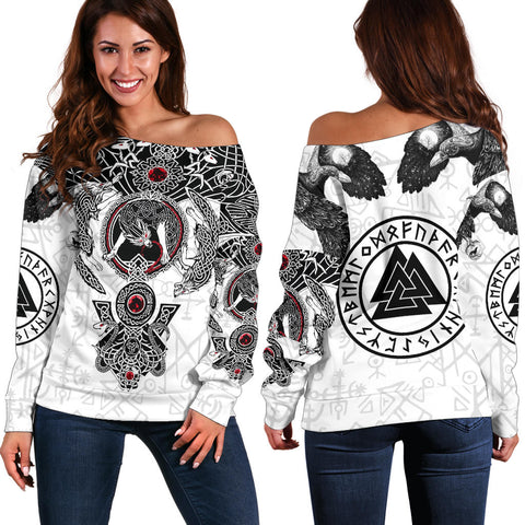 1stIceland Viking Women's Off Shoulder Sweater, Fenrir Skoll And Hati Valknut K5 - 1st Iceland