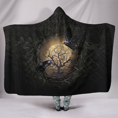 1stIceland Viking Hooded Blankets, Odin's Raven Tree Of Life Valknut Rune Circle K6 - 1st Iceland