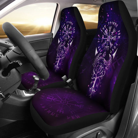 1stIceland Viking Car Seat Covers, Odin's Raven Vegvisir Tree Of Life A0 - 1st Iceland