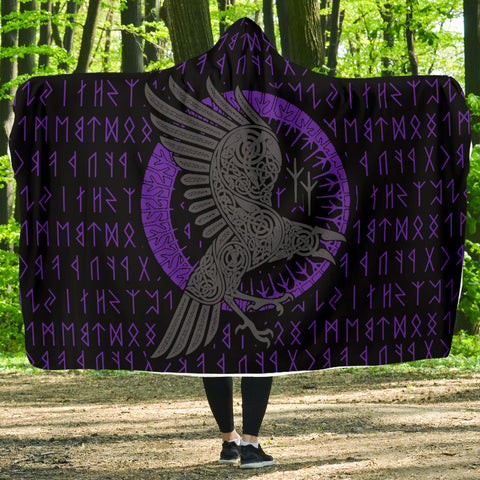 Image of 1stIceland Viking Hooded Blanket, Ragnar's Raven Runes K5 - 1st Iceland