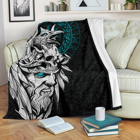 1stIceland Viking Odin And Raven Turquoise Premium Blanket TH12 - 1st Iceland