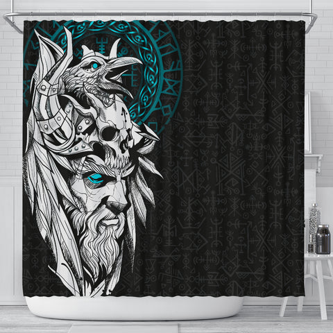 1stIceland Viking Odin And Raven Turquoise Shower Curtain