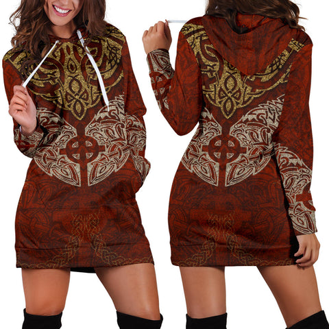 1stIceland Viking Hoodie Dress, Odin's Ravens Celitc Cross K7 - 1st Iceland