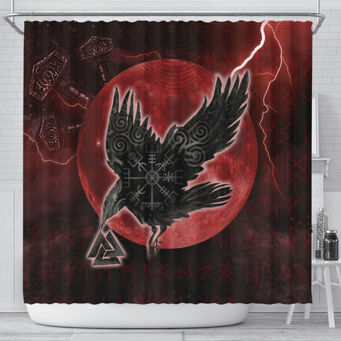 1stIceland Viking Shower Curtain, Raven Helm Of Awe Valknut Mjolnir Rune TH70 - 1st Iceland