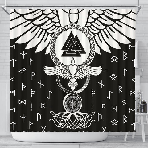 Image of 1stIceland Viking Shower Curtain, Flying Raven Tattoo And Valknut - 1st Iceland