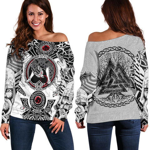 1stIceland Viking Off Shoulder Sweater, Fenrir Skoll And Hati Valknut White TH00 - 1st Iceland