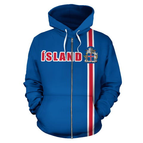 1stIceland Football Zip Up Hoodie, Ísland Coat Of Arms K4 - 1st Iceland