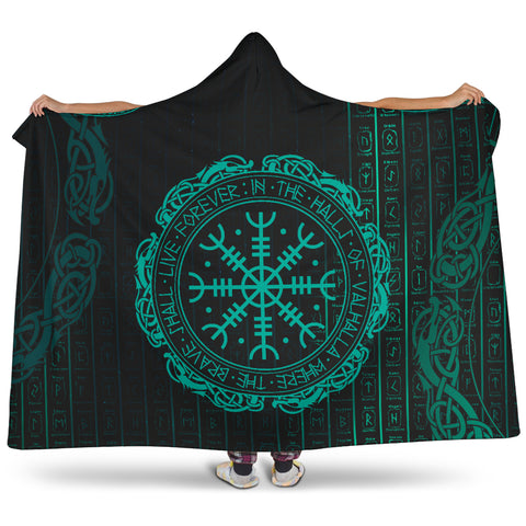 1stIceland Viking Hooded Blanket, Helm Of Awe Runes K7 - 1st Iceland