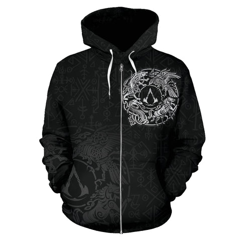 Image of 1sticeland Viking Valhalla Zip Hoodie Raven with Wolf - Sleipnir