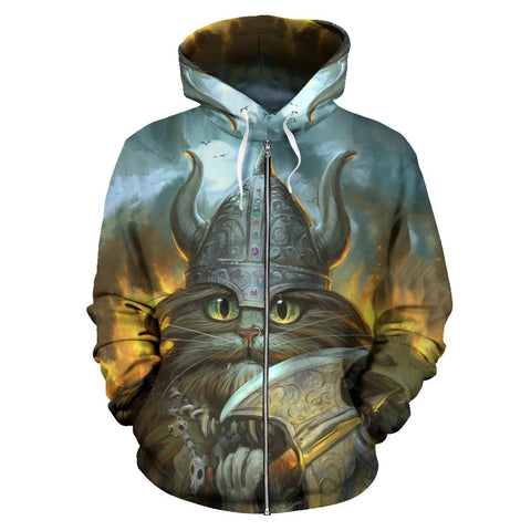 1stIceland Viking Zip Up Hoodie, Freya's Cat With Helmet Axe K5 - 1st Iceland