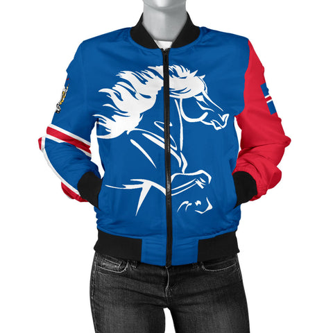 Image of 1stIceland Bomber Jacket, Icelandic Horse Flag Coat Of Arms K4 (Women) - 1st Iceland