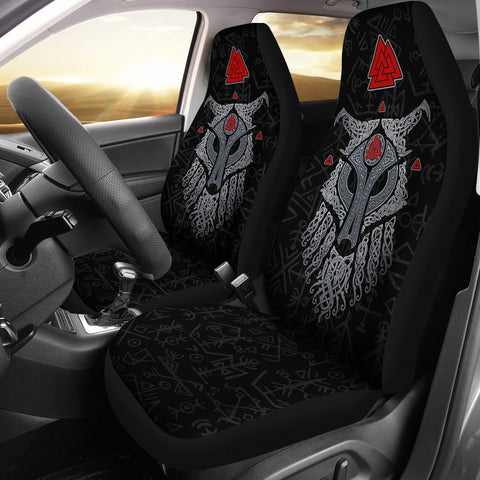 Viking Wolf and Raven Car Seat Covers Valknut Runes 1 | 1stIceland