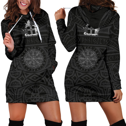 1stIceland Viking Hoodie Dress, Helm Of Awe Iceland Coat Of Arms K4 - 1st Iceland