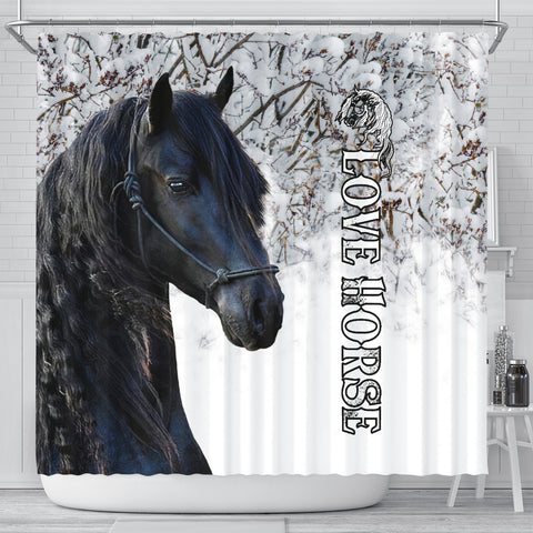 Image of 1stIceland Beautiful Friesian Horse Shower Curtain TH12 - 1st Iceland