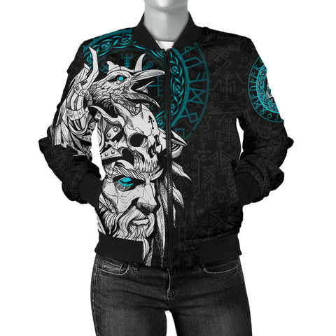 Image of 1stIceland Viking Odin And Raven Turquoise Women Bomber Jacket TH12 - 1st Iceland