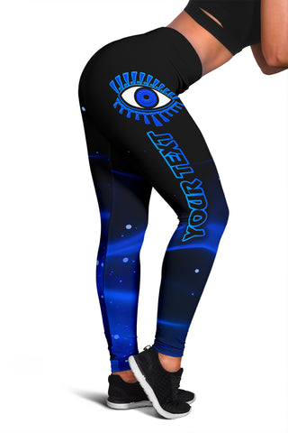 (Custom Personalised) 1stIceland Evil Eye Women Leggings Original Style - Blue K8 - 1st Iceland