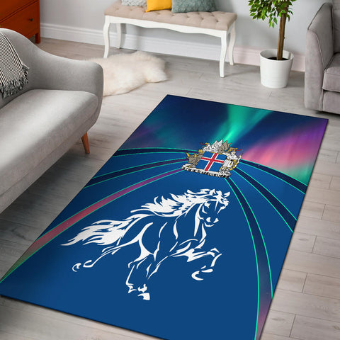 1stIceland Pullover Area Rug, Icelandic Horse Coat Of Arms Northern Lights K4 - 1st Iceland