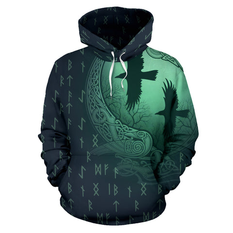 Image of 1stIceland Viking Pullover Hoodie, Odin's Eye Raven Runes NN82 02 - 1st Iceland