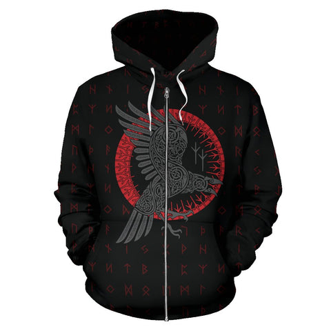 Image of 1stIceland Viking Zip Up Hoodie, Ragnar's Raven Runes A7 - 1st Iceland