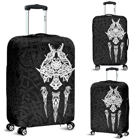 Image of 1stIceland Viking Luggage Covers, Fenrir The Vikings Wolves Th00 Black - 1st Iceland
