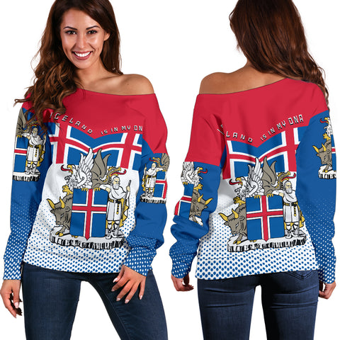 1stIceland Off Shoulder Sweater, Iceland Flag Coat Of Arms K7 - 1st Iceland