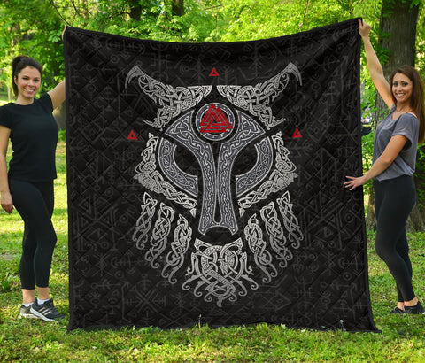 Image of Viking Wolf and Raven Premium Quilt Valknut Runes Front | 1stIceland