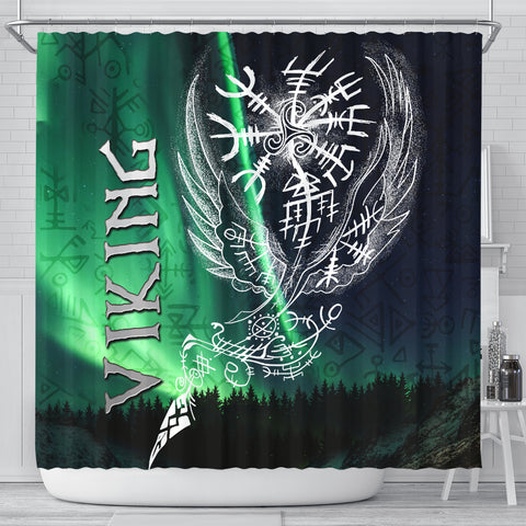 Image of 1stIceland Viking Shower Curtain Northern Lights