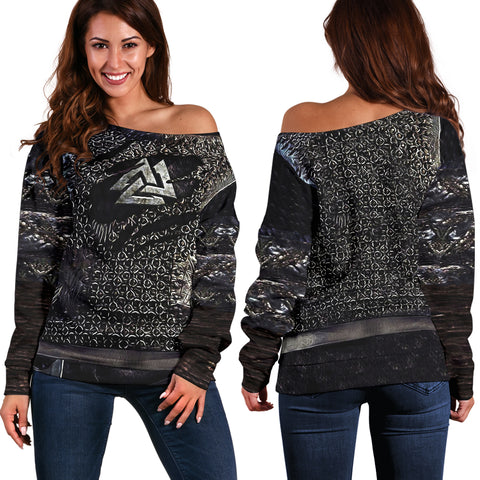 1stIceland Vikings Off Shoulder Sweater, Valknut 3D Viking Armour - Th00 - 1st Iceland