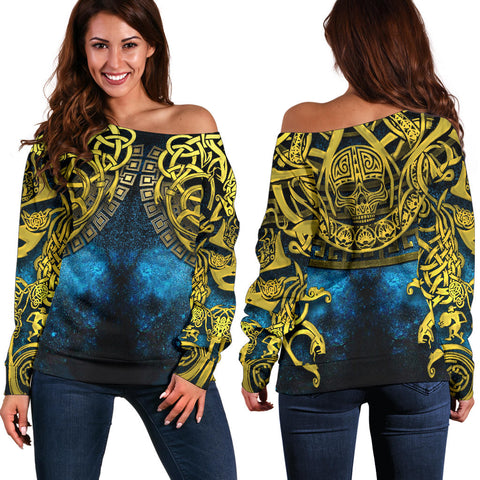1stIceland Celtic Off Shoulder Sweater, Celtic Knot Tattoo All Over Design - 1st Iceland