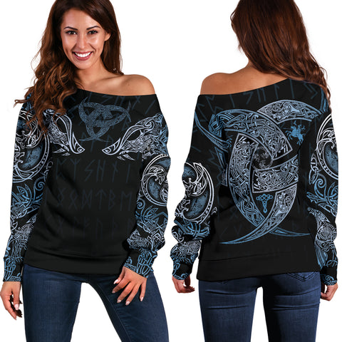 1stIceland Vikings Women's Off Shoulder Sweater, Geri & Freki with Triskele TH5 - 1st Iceland