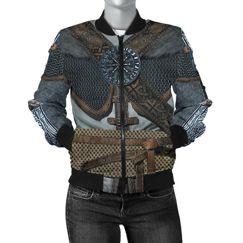 1stIceland Vikings Bomber Jacket for Women, 3D Vikings Armor with Helm Of Awe Th00 - 1st Iceland