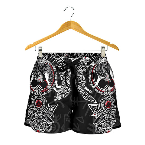 Image of 1stIceland Viking Women Shorts, Fenrir Skoll And Hati Valknut Raven TH00 - 1st Iceland
